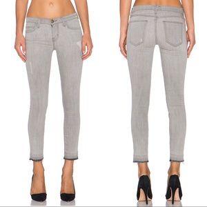 Current/Elliot Gray Stiletto Skinny Jeans Raw Hem